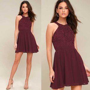 Lulu's Lover's Game Burgundy Lace Skater Dress S